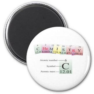 Química deletreada con los elementos imán redondo 5 cm