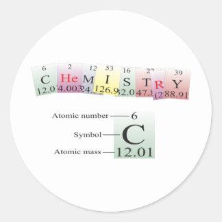 Química deletreada con los elementos pegatina redonda