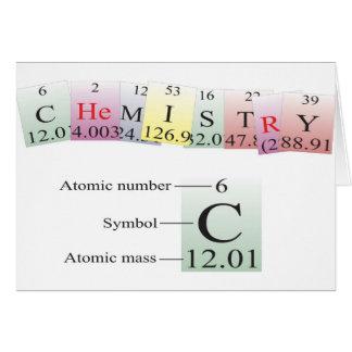 Química deletreada con los elementos felicitaciones