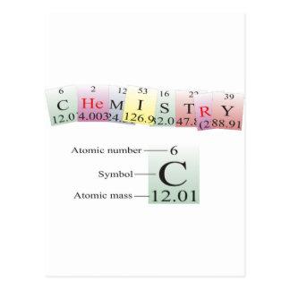 Química deletreada con los elementos tarjeta postal