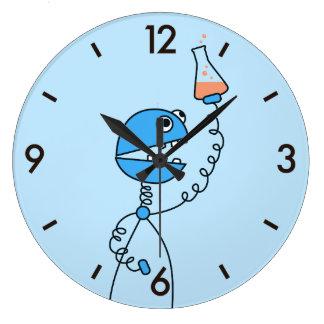 Química divertida azul del robot del dibujo reloj redondo grande