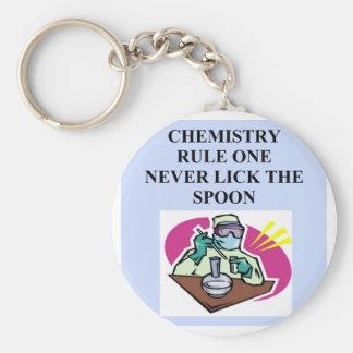 química: nunca lama la cuchara llavero redondo tipo pin