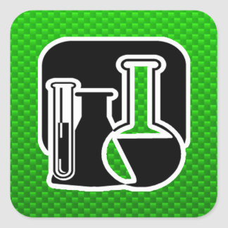 Química verde calcomanías cuadradas personalizadas