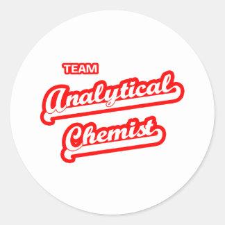 Químico analítico del equipo pegatina redonda