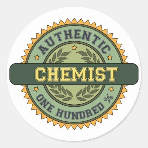 Químico auténtico etiquetas redondas