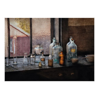 Químico - botellas poster
