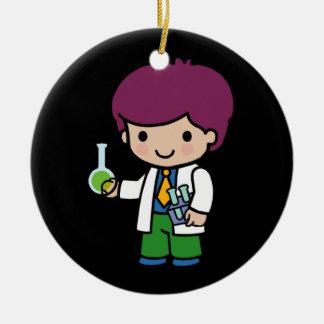 Químico/científico futuros adorno navideño redondo de cerámica