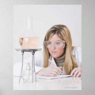Químico que mira la hornilla de Bunsen Póster