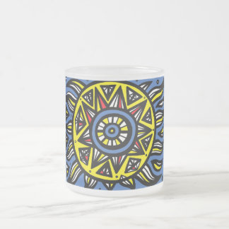 Quince Abstract Expression Yellow Blue 10 Oz Frosted Glass Coffee Mug
