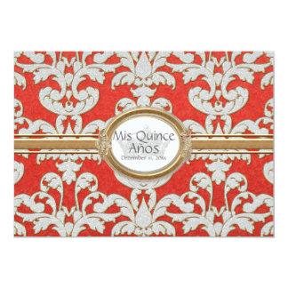 Quince Anos - Elegant Floral Leaf Damask Baroque Card