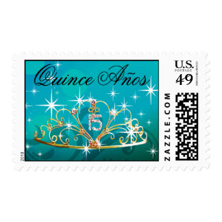 Quince Anos Tiara 15 teal Postage