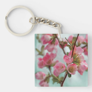 Quince Blossoms Double-Sided Square Acrylic Keychain