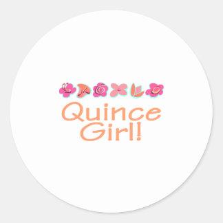 Quince Girl (peach color) Classic Round Sticker