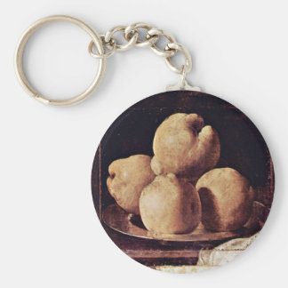 Quince On A Pewter Plate By Zurbarán Francisco De Basic Round Button Keychain