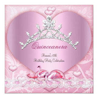 """Quinceanera 15 15th White Pink Swans Tiara Heart 5.25"""" Square Invitation Card"""