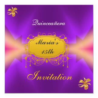 Quinceañera 15 Birthday Invitation Purple