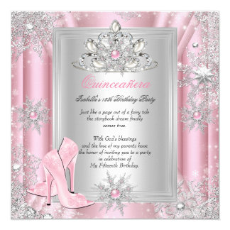Quinceanera 15 Birthday Light Pink Heels 2 Card