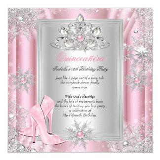 Quinceanera 15 Birthday Light Pink Heels 2 Card