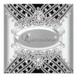 Quinceanera 15 Birthday Party Black White Diamonds Custom Announcements