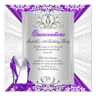 Quinceanera 15 Birthday Party Glitter Purple Heels 5.25x5.25 Square Paper Invitation Card