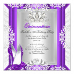 Quinceanera 15 Birthday Party Glitter Purple Shoes Card
