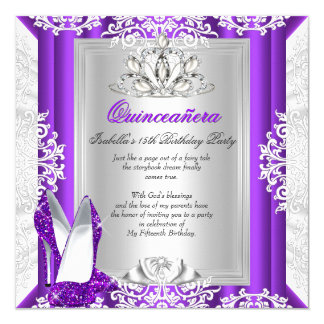 Quinceanera 15 Birthday Party Glitter Purple Shoes 5.25x5.25 Square Paper Invitation Card