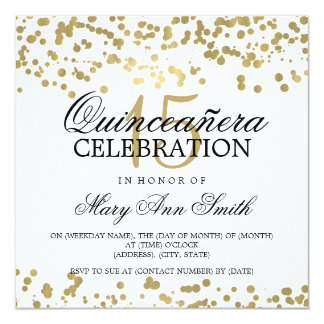 Quinceanera 15 Birthday Party Gold Foil Confetti Card
