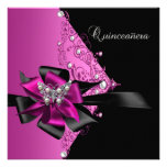 Quinceanera 15 Birthday Party Hot Pink Black Announcements