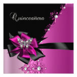 Quinceanera 15 Birthday Party Hot Pink Black Custom Announcement