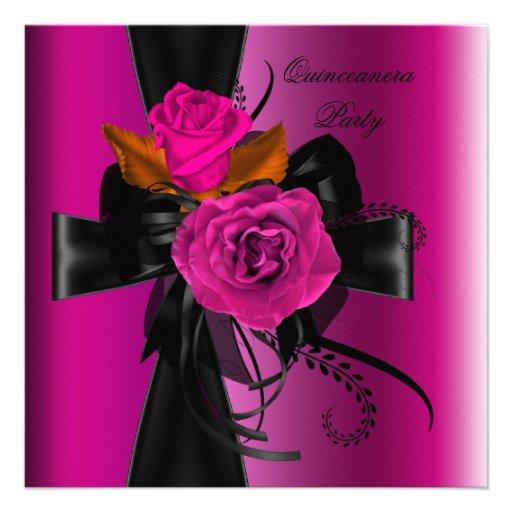15 Birthday Party Pink Purple Black Custom Invitation