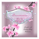 Quinceanera 15 Birthday Party Pretty Pink Floral Personalized Announcements