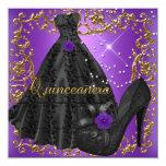 Quinceanera 15 Birthday Party Purple Black Dress Custom Invites