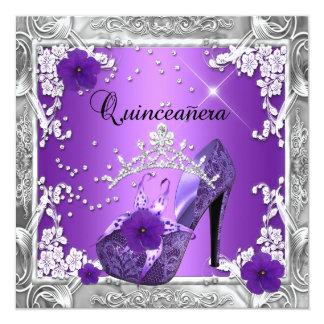 Quinceanera 15 Birthday Party Purple Silver Invitation