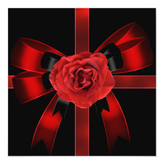 Quinceanera 15 Birthday Party Red Black Rose Card