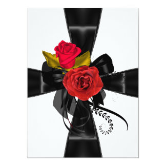Quinceanera 15 Birthday Party Red Black White Invitations