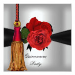 Quinceanera 15 Birthday Party Red Silver Announcements