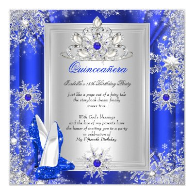 High Heels Tiara Royal Blue Quinceanera Rsvp Card Zazzle Com