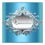 Quinceanera 15 Birthday Party Silver Blue Glitter Invite