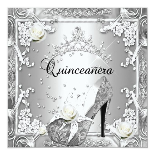 Quinceanera 15 Birthday Party Silver Card