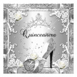 Quinceanera 15 Birthday Party Silver Custom Announcement