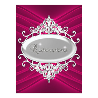 Quinceanera 15 Birthday Party Silver Pink Glitter Custom Invitation