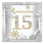 Quinceanera 15 Birthday Silver White Gold Elite Announcement
