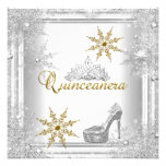 Quinceanera 15 Birthday Silver White Gold Elite Personalized Announcements