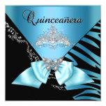 Quinceanera 15  Birthday Zebra Blue Black Tiara Invite