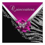Quinceanera 15  Birthday Zebra Pink Black Silver Announcements