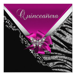 """Quinceanera 15  Birthday Zebra Pink Black Silver 5.25"""" Square Invitation Card"""