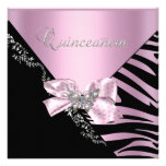 Quinceanera 15  Birthday Zebra Pink Black Silver Personalized Invites