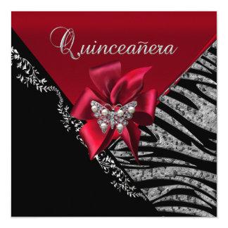 """Quinceanera 15  Birthday Zebra Red Black Silver 5.25"""" Square Invitation Card"""