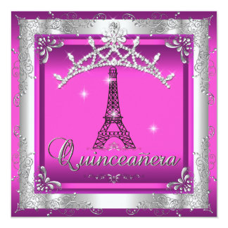 Quinceanera 15 Pink Silver Tiara Eiffel Tower Card