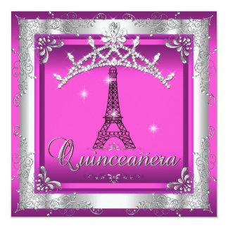 Quinceanera 15 Pink Silver Tiara Eiffel Tower Card